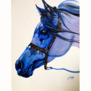 Hand Painted Arabian Blue Horse - Debbi Good