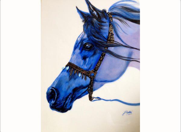 Hand Painted Arabian Blue Horse - Debbi Good